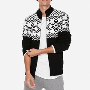Express Woven Cardigan - Fair Isle ZIP Front